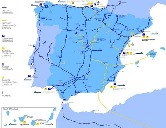 Gasoductos a través de España y Portugal