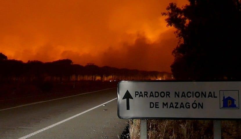 El incendio comenzó en Moguer