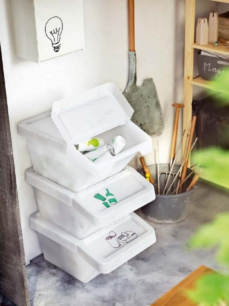 contenedor casero de reciclaje para el hogar