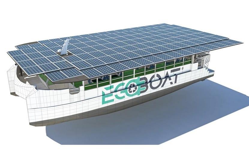 paneles solares que hacen que el barco funcione