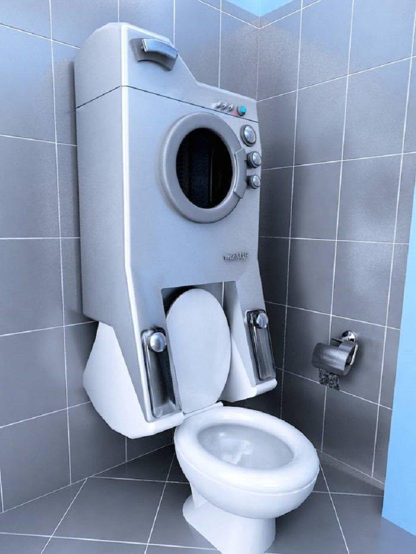 Lavadora e inodoro juntos para ahorro de agua