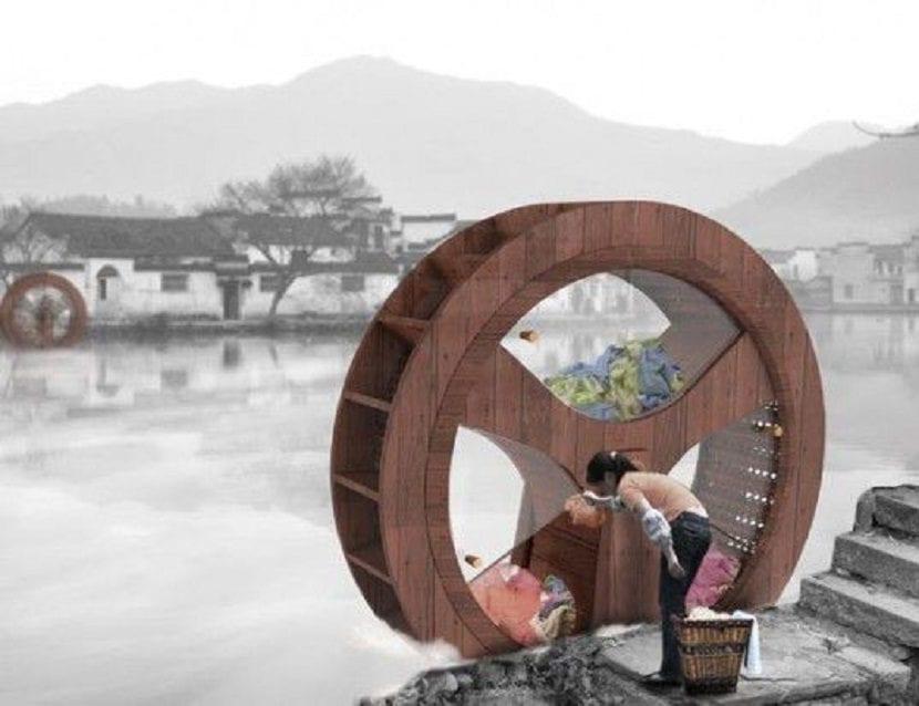 Lavadora de rueda de molino tradicional