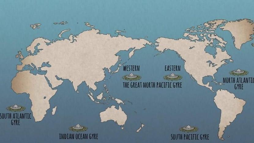 Ubicacion de las islas de plastico