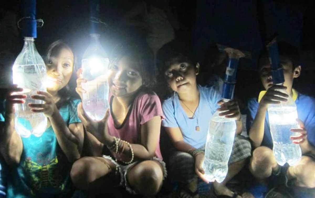 lampara solar casera